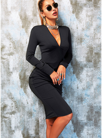 Solid Bodycon V-Neck Long Sleeves Midi Elegant Little Black Party Pencil Dresses