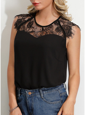 Short Sleeves Lace Round Neck Bluzlar