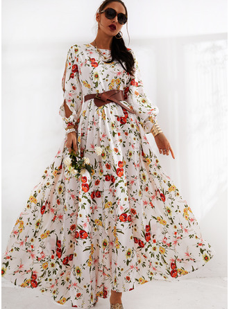 Floral Print A-line Cold Shoulder Long Sleeves Split Sleeve Maxi Casual Elegant Skater Dresses