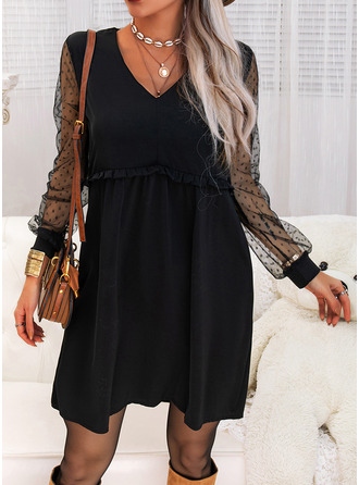 Solid Shift V-Neck Long Sleeves Midi Casual Little Black Tunic Dresses