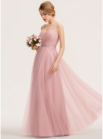 A-Line V-neck Floor-Length Tulle Bridesmaid Dress With Ruffle Appliques Lace