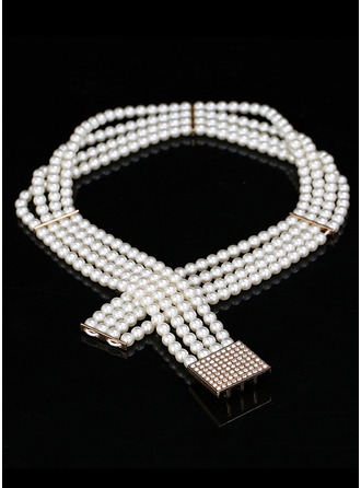 Elegant Imitation Pearls Belt With Rhinestones