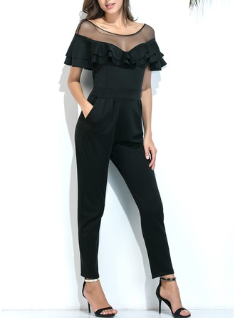 Polyester/Tulle With Stitching Maxi Jumpsuits