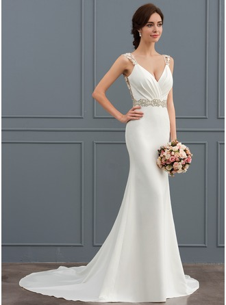 Trumpet Mermaid V Neck Court Train Stretch Crepe Wedding Dress With Lace Beading