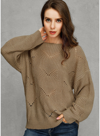 Cable-knit Chunky knit Solid Polyester Round Neck Pullovers Sweaters