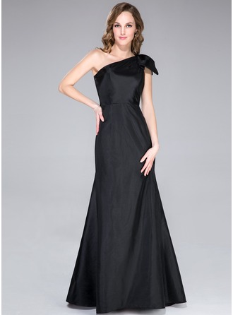 Trumpet/Mermaid One-Shoulder Floor-Length Taffeta Holiday Dress With Bow(s)