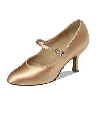 Women's Satin Heels Pumps Ballroom Dance Shoes