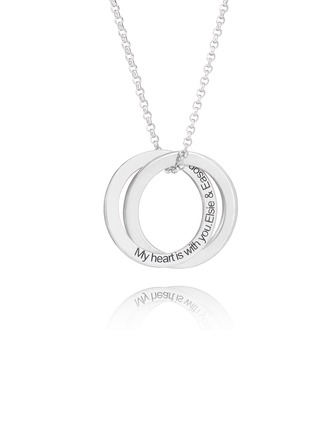 Custom Sterling Silver Circle Engraved Necklace