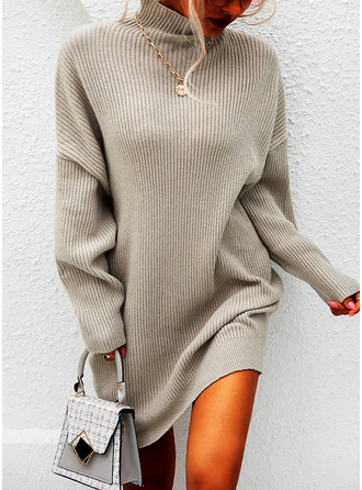 Solid A-line High Neck Long Sleeves Mini Casual Dresses