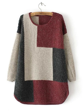 Color Block Cotton Round Neck Sweater Kazak