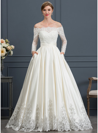 Off-the-Shoulder Sweep Train Satin Wedding Dress With Beading Sequins