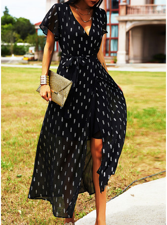 Print A-line V-Neck Short Sleeves Maxi Casual Vacation Skater Dresses