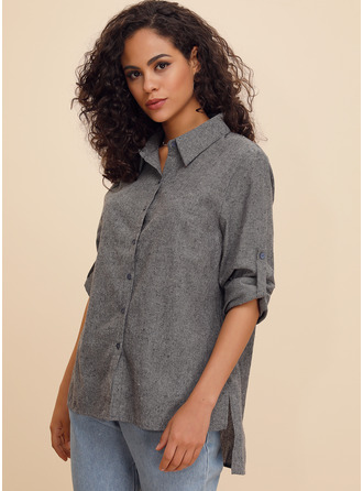 Long Sleeves Cotton Linen V Neck ()