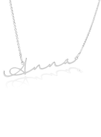Custom Sterling Silver Signature Cursive Name Necklace - Valentines Gifts
