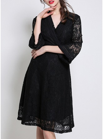 Lace With Lace/Stitching/Ruffles Knee Length Dress