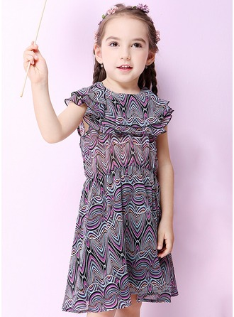 A-Line/Princess Knee-length Flower Girl Dress - Chiffon