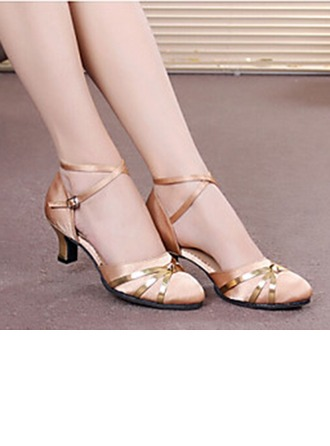 Women's Satin Heels Sandals Pumps Latin Modern Ballroom Party With Ankle Strap Hollow-out Sequin Dance Shoes