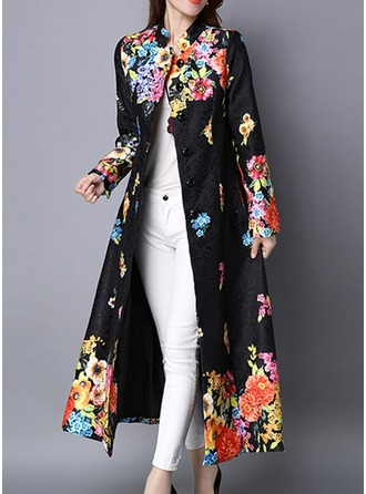 Cotton Long Sleeves Print Trench Coats Coats