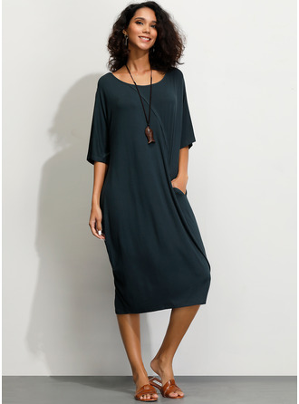 Cotton Blends With Solid Midi Dress