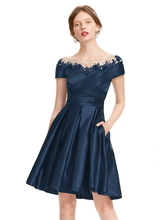 A-Line/Princess Scoop Neck Knee-Length Satin Homecoming Dress With Ruffle Beading Sequins