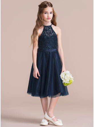 A-Line/Princess Scoop Neck Tea-Length Tulle Junior Bridesmaid Dress With Beading Sequins