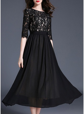 Lace/Chiffon With Lace Midi Dress
