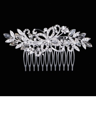 Ladies Glamourous Rhinestone/Alloy Combs & Barrettes With Rhinestone
