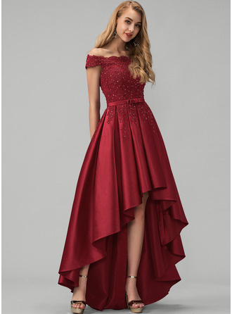 Off-the-Shoulder Asymmetrical Satin Prom Dresses With Lace Beading Sequins Bow(s)