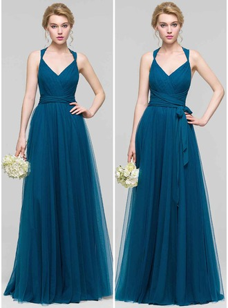 V-neck Floor-Length Tulle Prom Dresses
