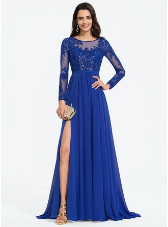 Scoop Neck Sweep Train Chiffon Prom Dresses With Sequins Split Front