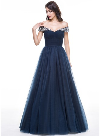 Ball-Gown/Princess Off-the-Shoulder Floor-Length Tulle Prom Dresses With Ruffle Beading