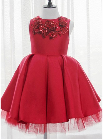 Ball Gown Knee-length Flower Girl Dress - Satin/Tulle/Sequined Sleeveless Scoop Neck With Sequins