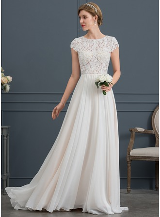 Scoop Neck Sweep Train Chiffon Wedding Dress