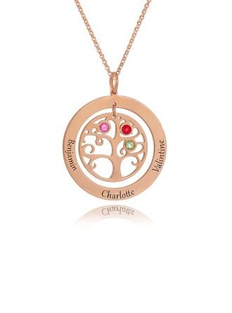 Custom 18k Rose Gold Plated Silver Engraving/Engraved Circle Three Birthstone Necklace With Family Tree