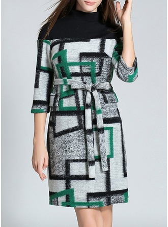 Knitting/Woolen With Print Knee Length Dress