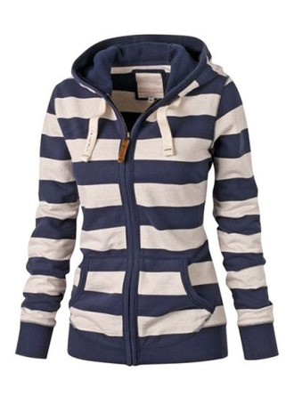Cotton Long Sleeves Striped Slim Fit Coats Coats