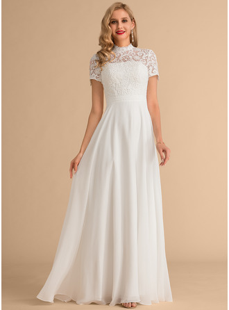 High Neck Floor-Length Chiffon Lace Wedding Dress