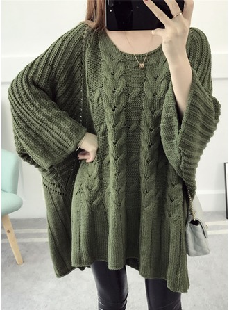 Acrylic Round Neck Cable-knit Sweater