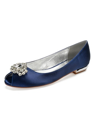 Women's Silk Like Satin Flat Heel Peep Toe With Rhinestone