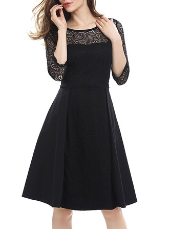 Cotton/Spandex With Lace Knee Length Dress
