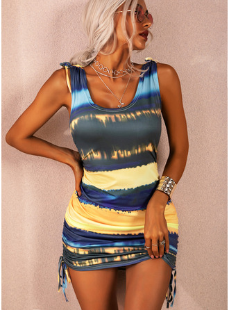 Tie Dye Bodycon U-Neck Sleeveless Midi Casual Vacation Tank Dresses