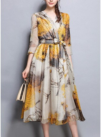 Chiffon With Bowknot/Print/Crumple Midi Dress