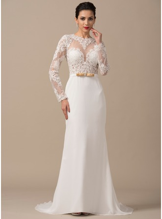 Sheath/Column Scoop Neck Court Train Chiffon Wedding Dress With Beading Appliques Lace Bow(s)