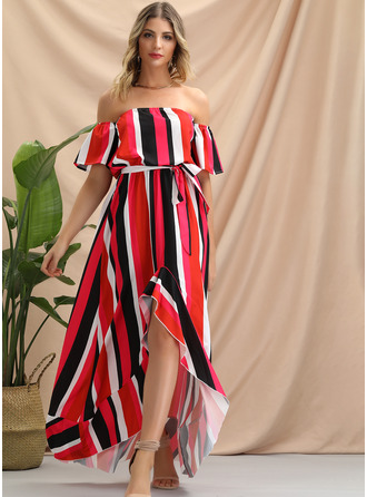 Polyester With Print/Ruffles Asymmetrical Dress