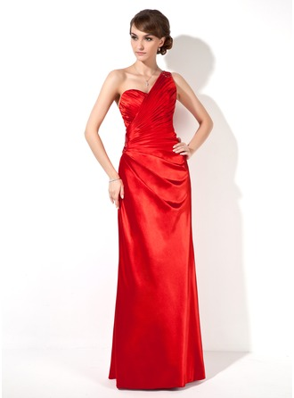 Sheath/Column One-Shoulder Floor-Length Charmeuse Evening Dress With Ruffle Beading