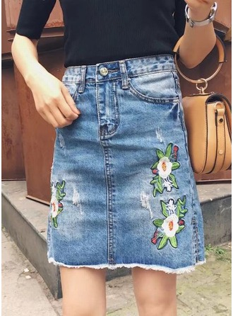 Demin Skirts Above Knee Embroidery Denim Etekler