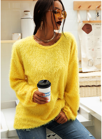 Solid Polyester Round Neck Sweater Dresses Sweaters