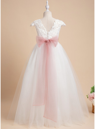 Ball-Gown/Princess Floor-length Flower Girl Dress - Lace Sleeveless Scoop Neck With Lace/Sash