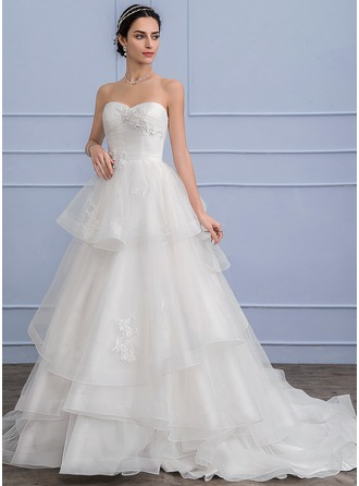 A-Line/Princess Sweetheart Court Train Tulle Wedding Dress With Beading Appliques Lace Sequins Cascading Ruffles