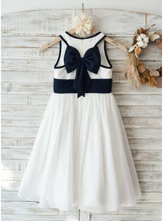 Ivory Chiffon Wedding Flower Girl Dress with Navy Blue Bow